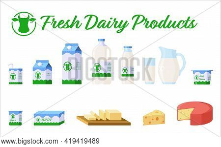 Collection Of Dairy Products: Milk In Different Packages (carton, Glass, Jug), Yogurt, Cheese, Butte
