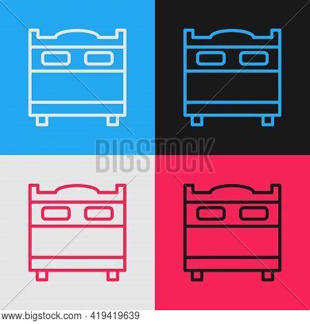 Pop Art Line Bedroom Icon Isolated On Color Background. Wedding, Love, Marriage Symbol. Bedroom Crea