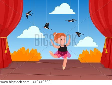 Cute Little Ballerina Dancing On Stage With Decorations. Cartoon Vector Illustration. Girl Dancing O