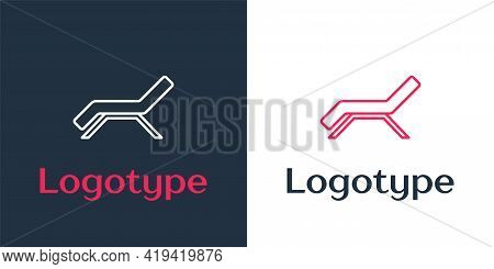 Logotype Line Sunbed Icon Isolated On White Background. Sun Lounger. Logo Design Template Element. V