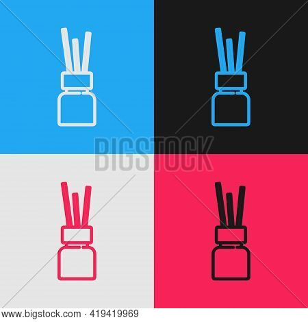 Pop Art Line Aroma Diffuser Icon Isolated On Color Background. Glass Jar Different With Wooden Aroma