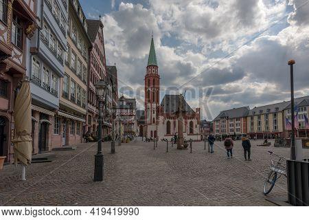 Old Nikolas Church, A Medieval Lutheran Church In The Old Town, Frankfurt, Germany