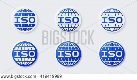 A Set Of Buttons With Shadow For Marking Products. Certificate - Iso (international Organization For