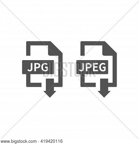 Jpeg And Jpg File Download Black Vector Icon. Save Image With Arrow Symbol.