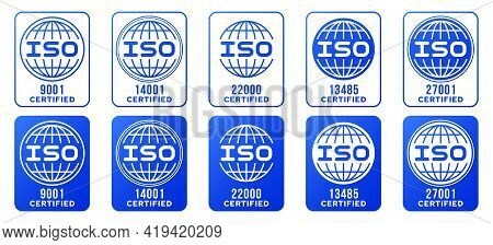 A Set Of Stamps For Marking Products. Certificate - Iso (international Organization For Standardizat