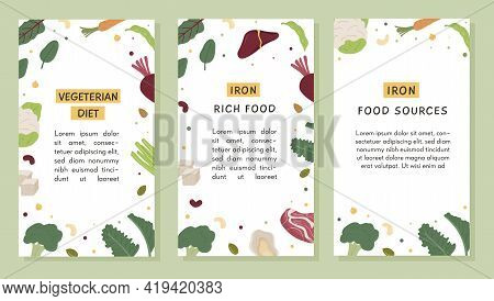 Vector Set Of Social Media Vertical Banner Templates Of Iron Food Sources. Social Media Story With T