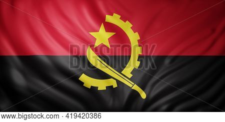 3d Rendering Of A National Angola Flag.