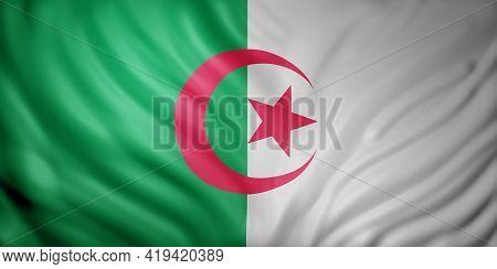 3d Rendering Of A National Algeria Flag.