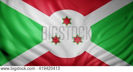 3d Rendering Of A National Burundi Flag.