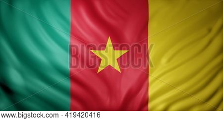 3d Rendering Of A National Cameroon Flag.