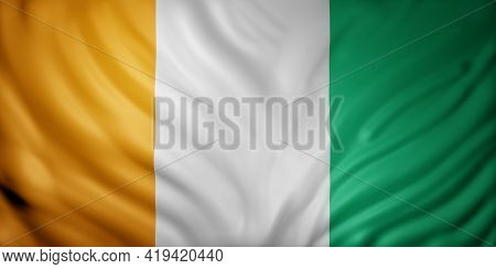 3d Rendering Of A National Ivory Coast Flag.