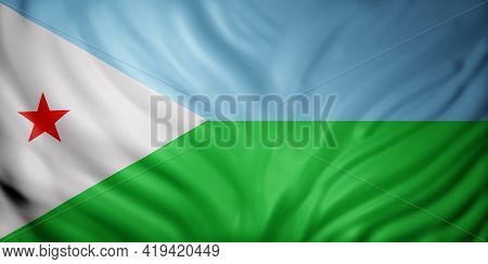 3d Rendering Of A National Djibouti Flag.