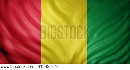 3d Rendering Of A National Guinea Flag.