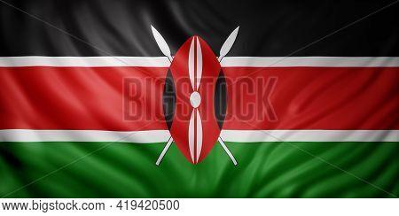 3d Rendering Of A National Kenya Flag.