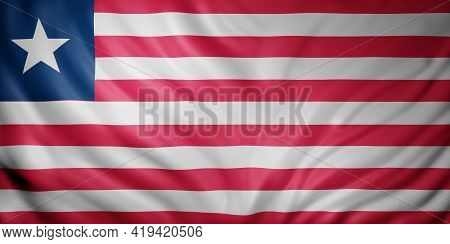 3d Rendering Of A National Liberia Flag.