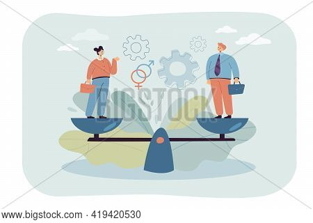 Tiny People Standing On Weighing Dishes Of Balance Scale Isolated Flat Vector Illustration. Cartoon