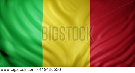 3d Rendering Of A National Mali Flag.