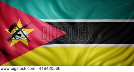 3d Rendering Of A National Mozambique Flag.