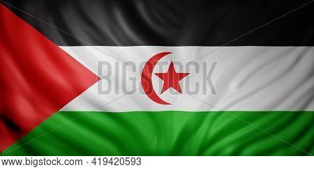3d Rendering Of A National  Sahrawi Arab Democratic Republic Flag.
