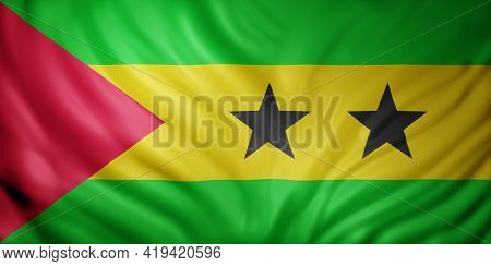3d Rendering Of A National Sao Tome And Principe Flag.
