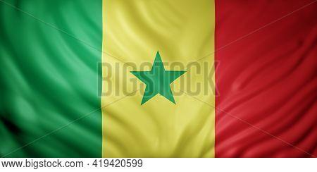3d Rendering Of A National Senegal Flag.