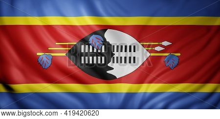3d Rendering Of A National Swaziland Flag.