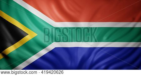 3d Rendering Of A National South Africa Flag.