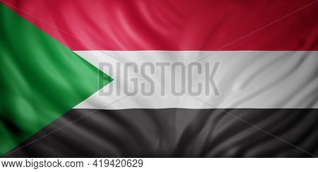 3d Rendering Of A National North Sudan Flag.