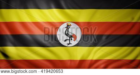 3d Rendering Of A National Uganda Flag.
