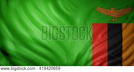 3d Rendering Of A  National Zambia Flag.