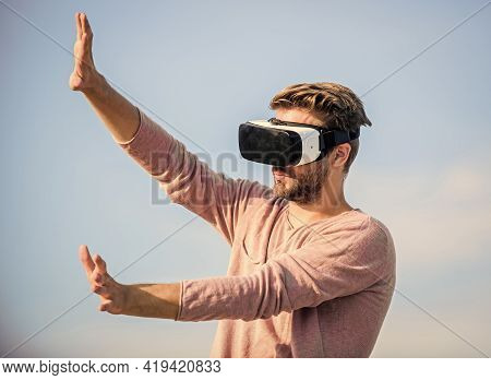 Enjoying New Experience. Create Own Business. Play Virtual Game. Sexy Man Sky Background Vr Glasses.