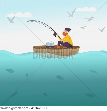 Fisherman With Fishing Rod On The Boat. Sea Scenery With Fisher Catching Fish For Kids Book. A Man W