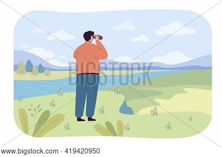 Back View Of Man Exploring Nature In Binoculars Flat Vector Illustration. Cartoon Character Looking