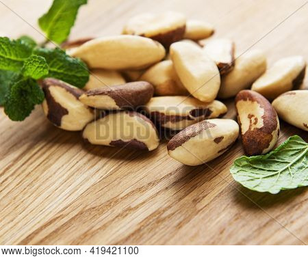 Brazil Nuts On A Old Wooden Table