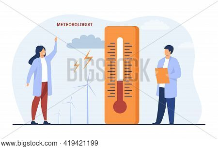 Meteorologists Standing Near Giant Thermometer. Flat Vector Illustration. Man And Woman Making Weath