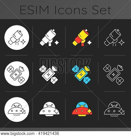 Astronautic Dark Theme Icons Set. Gravitationally System Of Sun And Planets. Earth Natural Satellite
