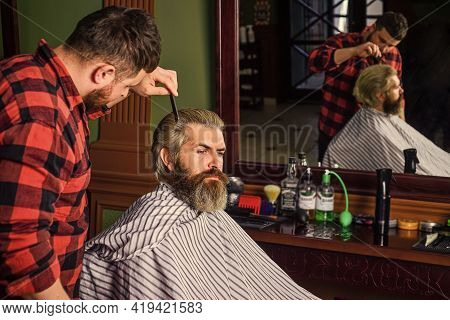 Professional Hairstylist In Barbershop Interior. Hipster Client Getting Haircut. Barber And Client.