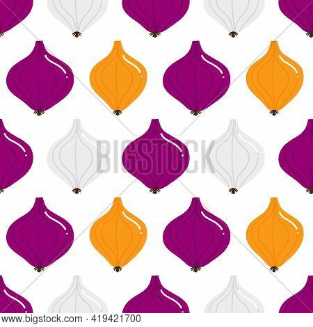 Red, Yellow, White Onion Cute Cartoon Style Vector Seamless Pattern Background For Food Design.