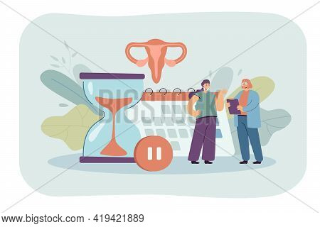Tiny Woman Consulting With Doctor About Female Health Flat Vector Illustration. Cartoon Character Tr