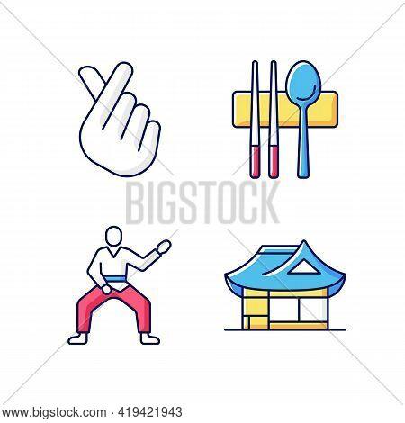 Symbols Of Korea Rgb Color Icons Set. Finger Heart. Sujeo Utensils. Taekwondo Fighter In Position. H