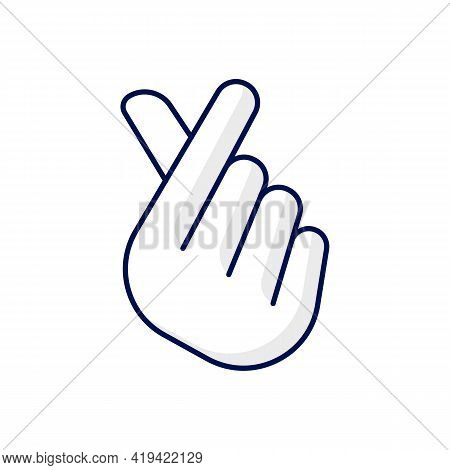 Finger Heart Rgb Color Icon. Gesturing Hand For Flirting And Friendship. Romantic Signature. Sign Of