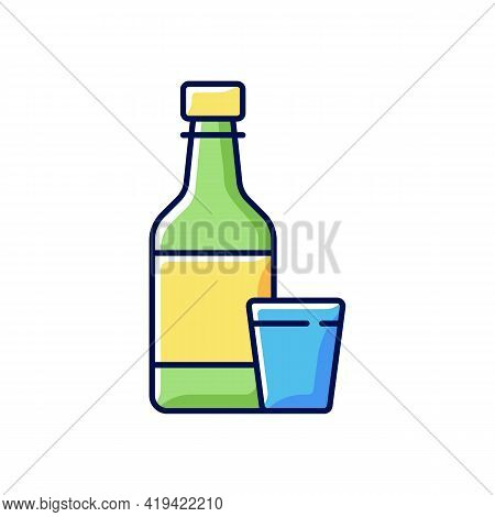 Soju Rgb Color Icon. Asian Alcoholic Drink. Alcohol In Bottle. Japanese Sake. Beer, Liquor. Korean C