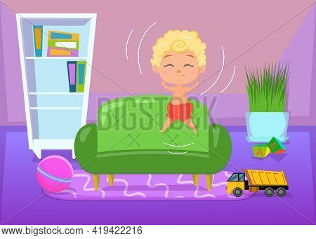 Happy Child Jumping On Green Soft Sofa. Cartoon Vector Illustration. Smiling Little Boy Playing And