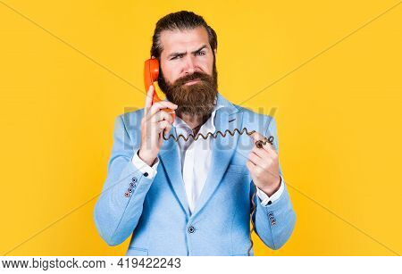 A Better Way. True Gentleman With Groomed Hair Hold Vintage Telephone. Nice Conversation. Bearded Ma
