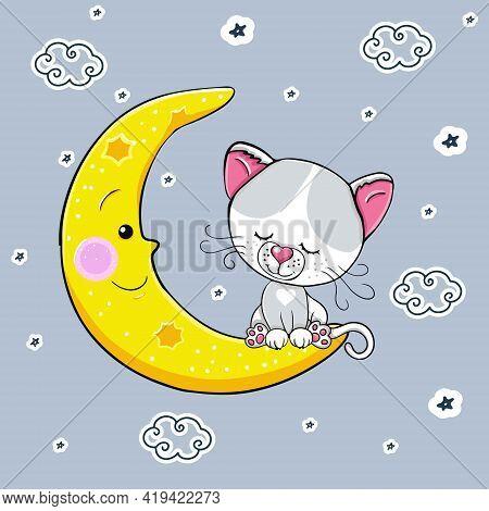 Cute Cartoon White Gray Cat Sleeps On The Moon. Vector Illustration. A Beautiful Kitten. The Little