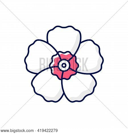Hibiscus Syriacus Rgb Color Icon. Rose Of Sharon. Chinese And Indian Flower. Exotic Bloom. Tropical
