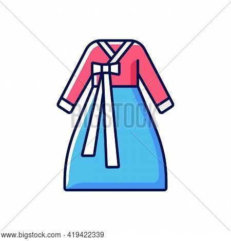 Hanbok Rgb Color Icon. National Asian Clothing. Oriental Dress For Women. Eastern Outfit For Girls.