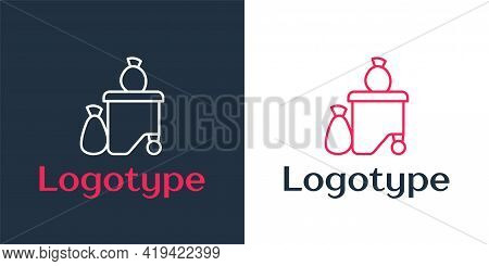 Logotype Line Dumpsters Being Full With Garbage Icon Isolated On White Background. Garbage Is Pile L