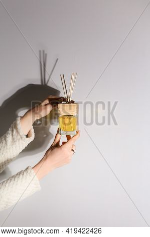 Aromatherapy Reed Diffuser Air Freshener On Relaxed Spa Background
