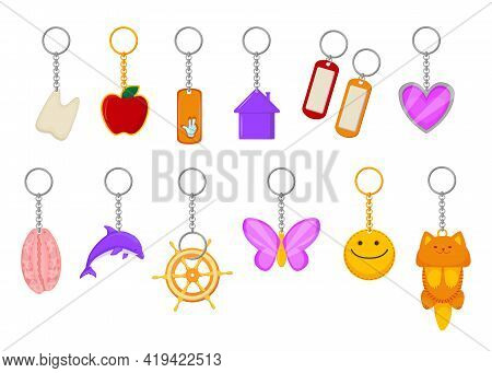 Different Metallic Keychains Vector Illustrations Set. Collections Of Keyrings, Cute Objects On Chai